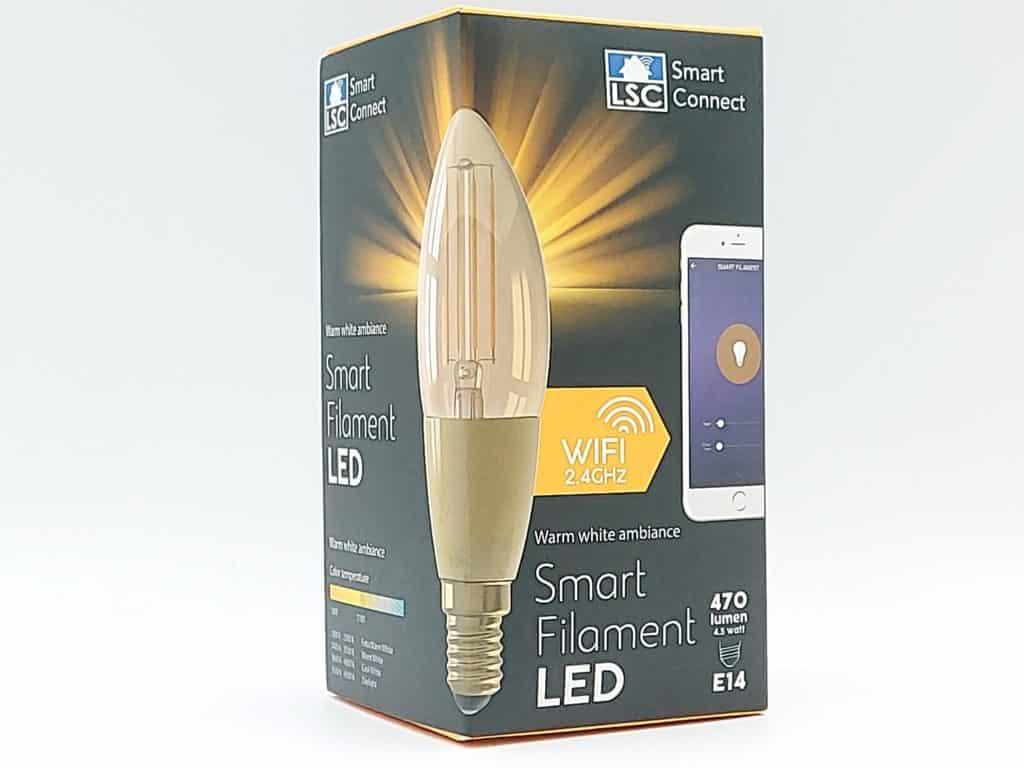 Coffret de l'ampoule LSC Smart Connect E 14 Filament