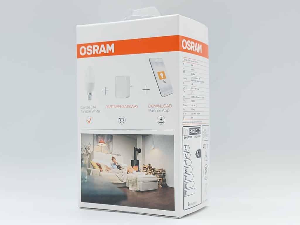 Packaging arrière avec mention d'un hub ZigBee necessaire pour l'ampoule Osram Smart + candle E14 tunable White