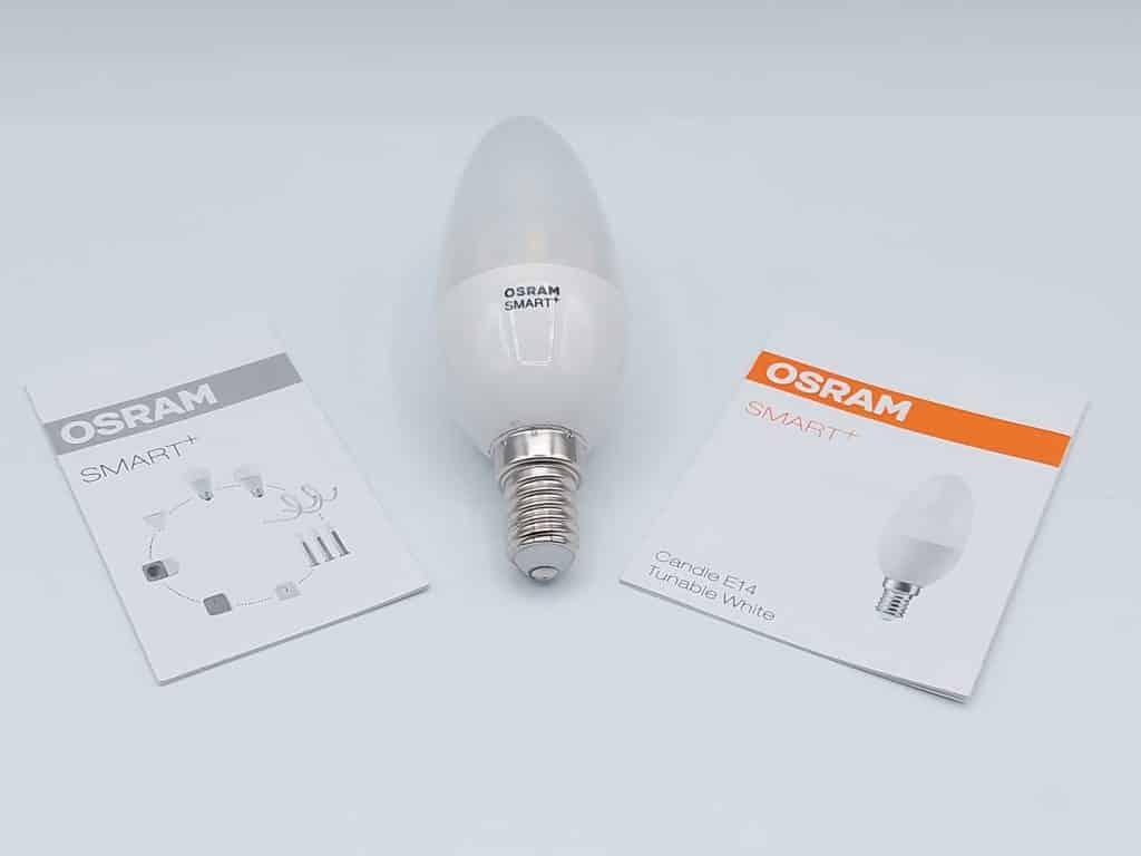Osram Smart + E14 ampoule flamme connectée dimmable avec ses flyers : certificat de conformité et manuel d'installation rapide