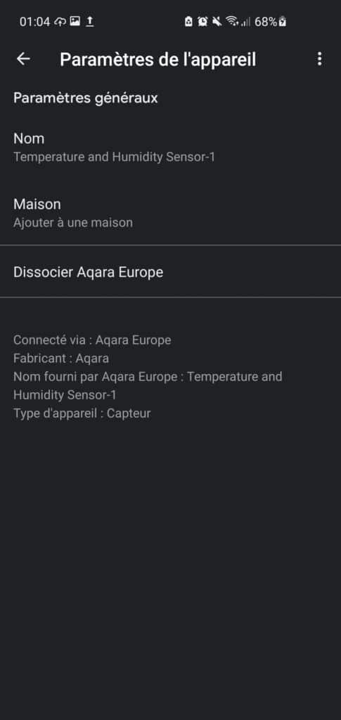 Capteurs Aqara dans Google Assistant