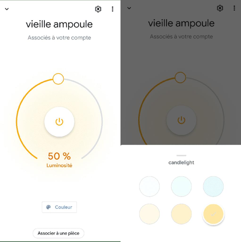 Utilisation de l'ampoule Benexmart ST64 dans l'application Google Home