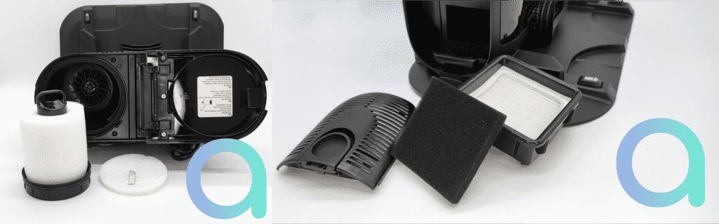 le collecteur de poussière du SIQR est équipé de différent filtres pour retenir les poussières