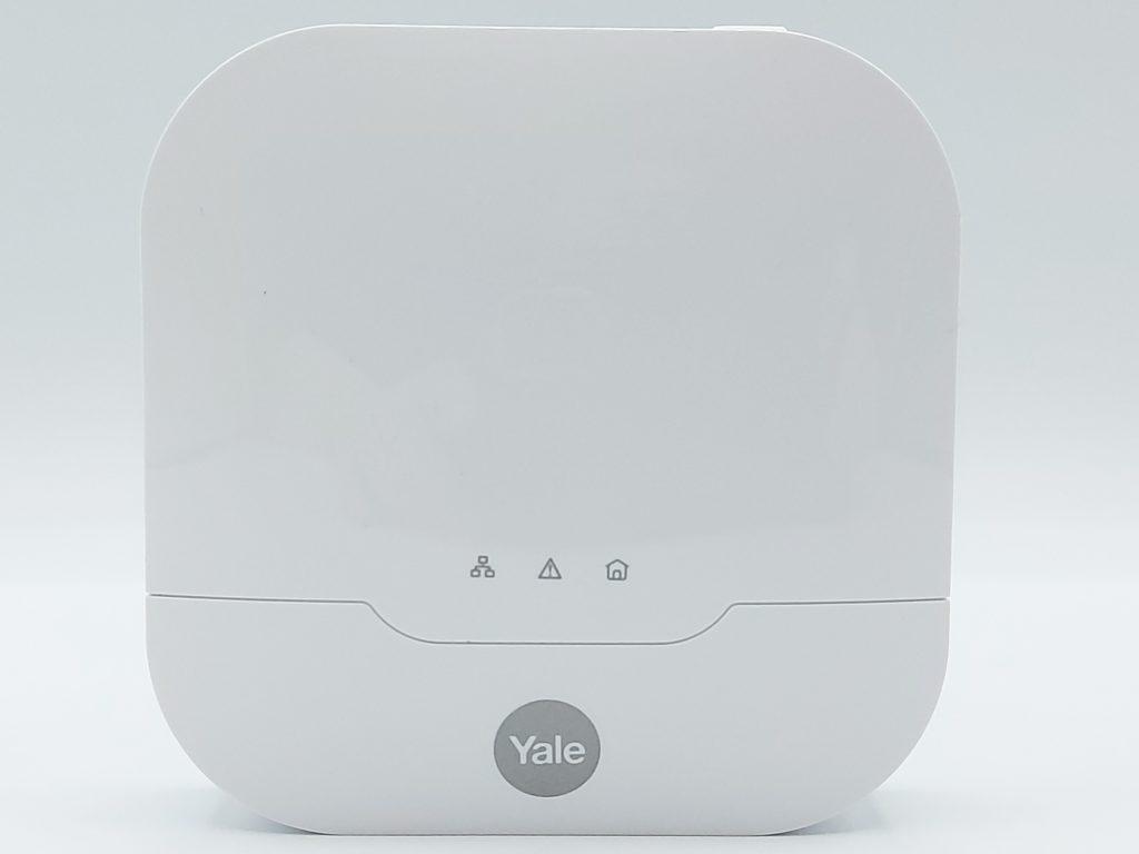 Face de la centrale de l'alarme Sync Yale avec les 3 LED de fonctionnement