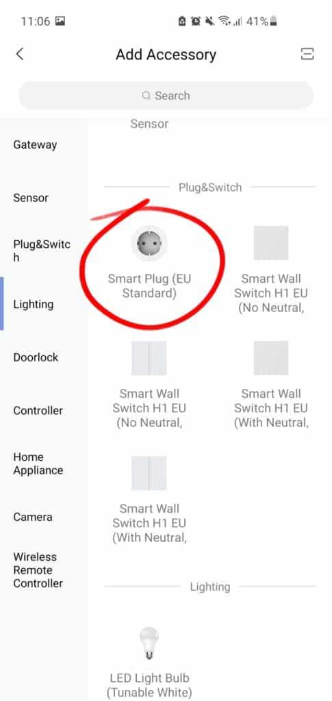 Sélectionnez Aqara Smart Plug EU
