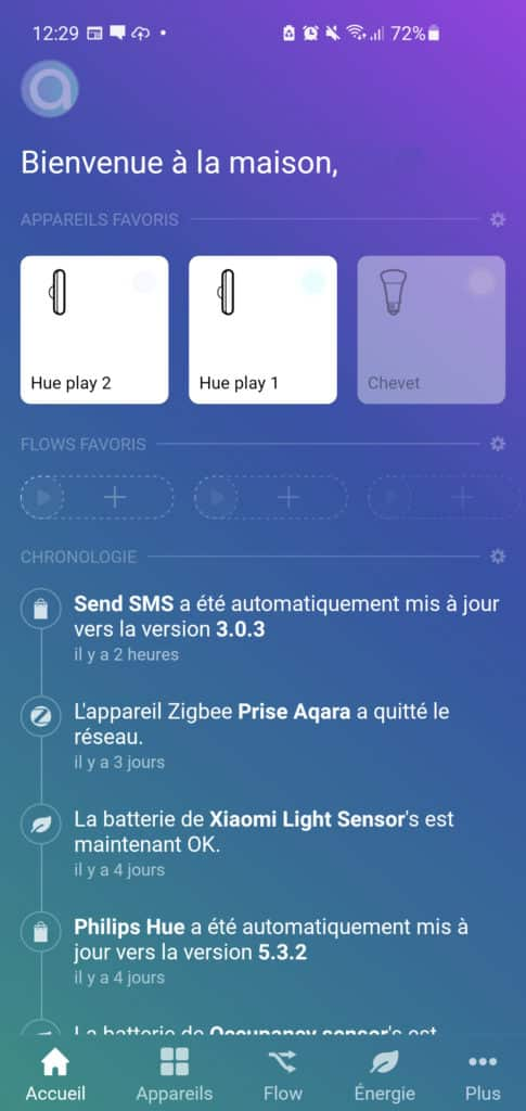 L'application Homey sur Android