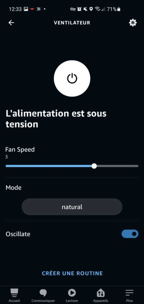 Le ventilateur Smartmi Standing Fan 3 dans l'application Alexa