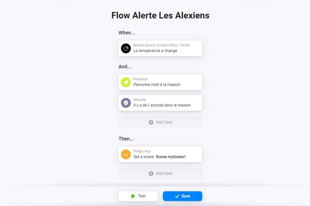 Exemple de Flow sur Homey Pro