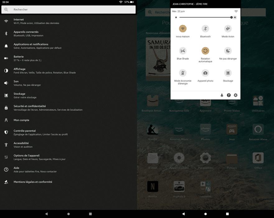 La Fire HD 10 s'installe très simplement avec les identifiants Wi-Fi et Amazon