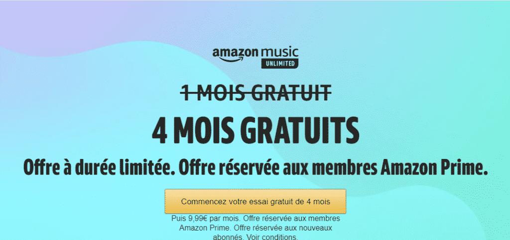 Amazon Music en promo 4 mois gratuits pour Prime Day 2021