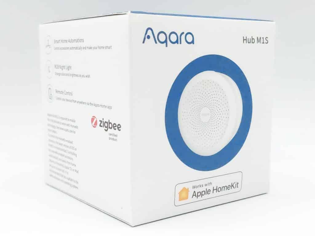 Aqara presente son hub M1S dans une belle boite à ses couleurs mentionnant la prise en compte de Apple HomeKit