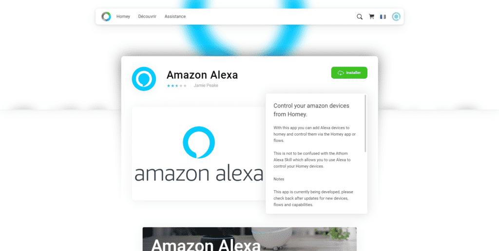 L'application Amazon Alexa pour Homey