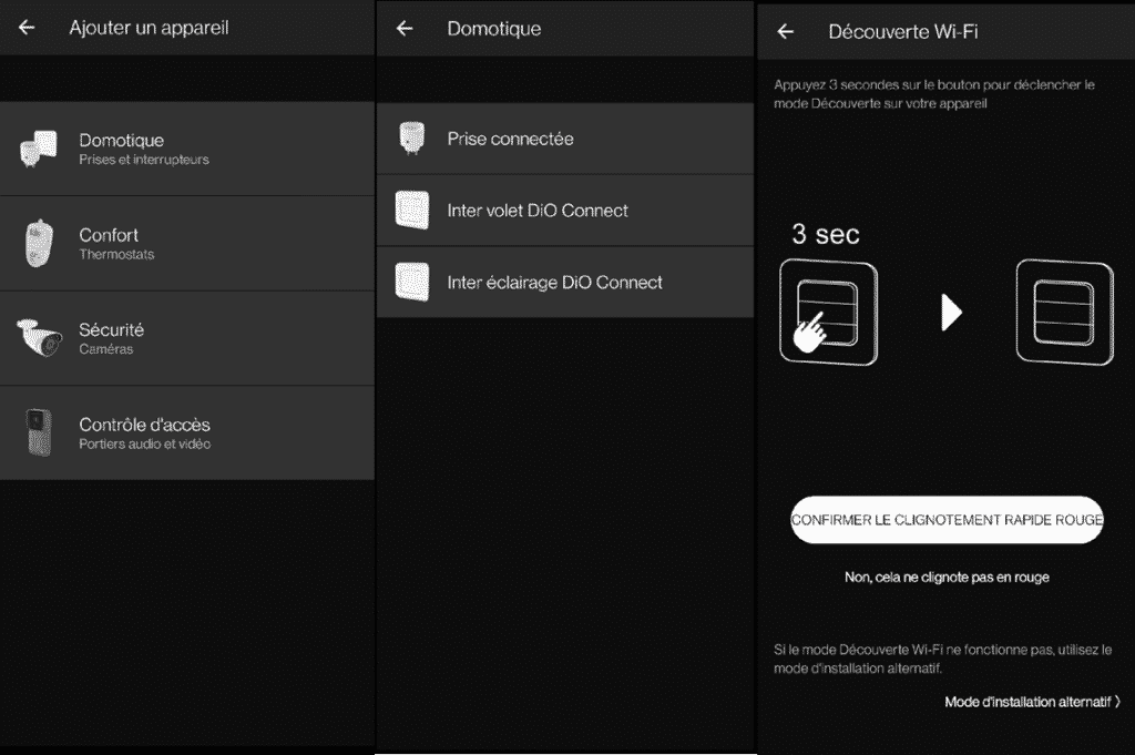 installation de l'interrupteur Dio Rev Shutter sur l'application Dio