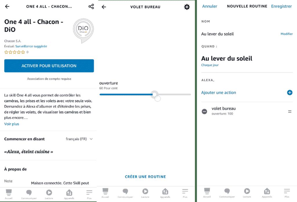 l'Intégration de l'interrupteur pour volet Dio Rev Shutter dans l'application Alexa permet une gestion vocale et des routines