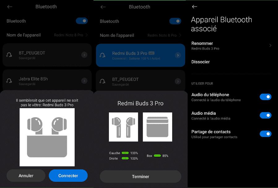 L'appairage avec un smartphone Redmi Note 8 Pro des écouteurs Remi Buds 3 Pro
