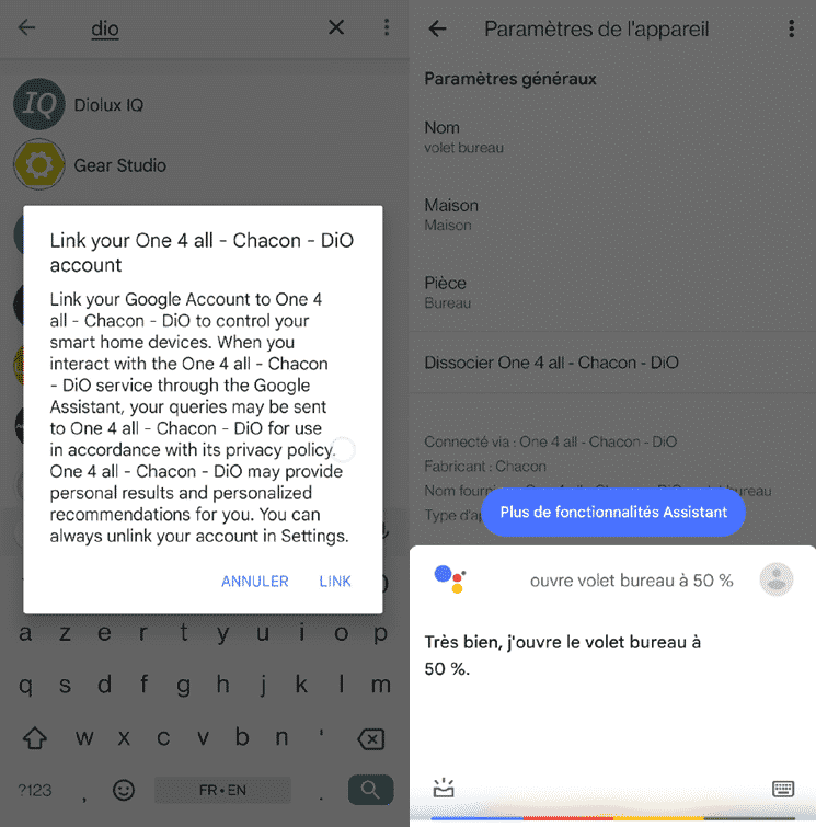La compatibilité avec Google Assistant permet de piloter vocalement l'interrupteur Dio Rev Shutter