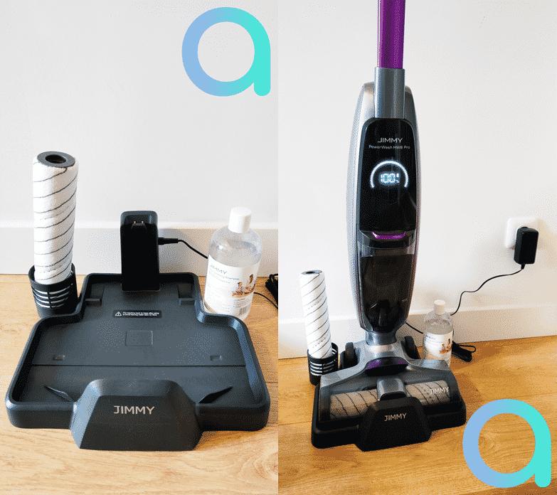 La base de rechargerment du Jimmy HW8 Pro permet également l'auto nettoyage du rouleau