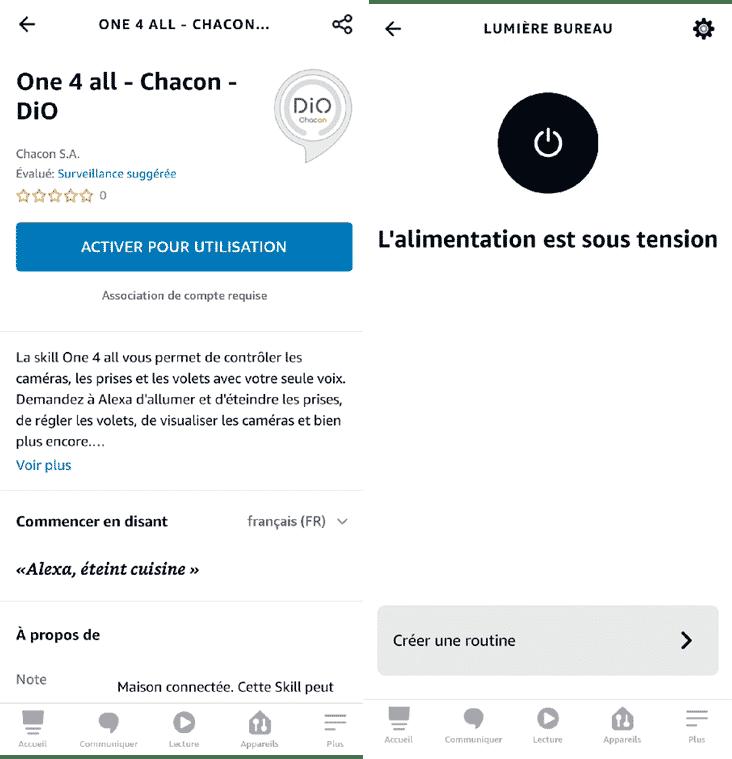 l'interrupteur Dio Rev Light est reconnu sans difficulté par Amazon Alexa dans l'application
