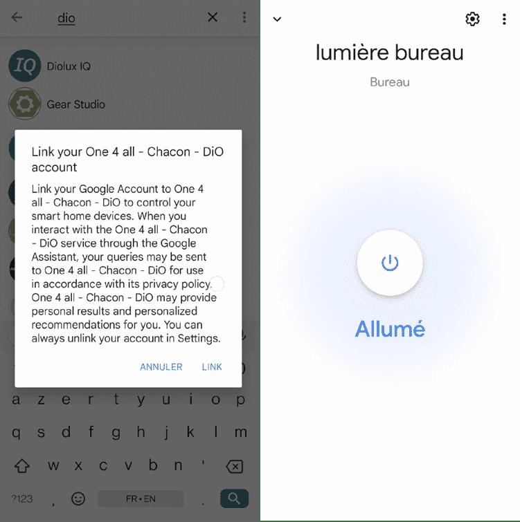 l'application Google Home intègre également sans problèleme l'interrupteur Dio Rev Light