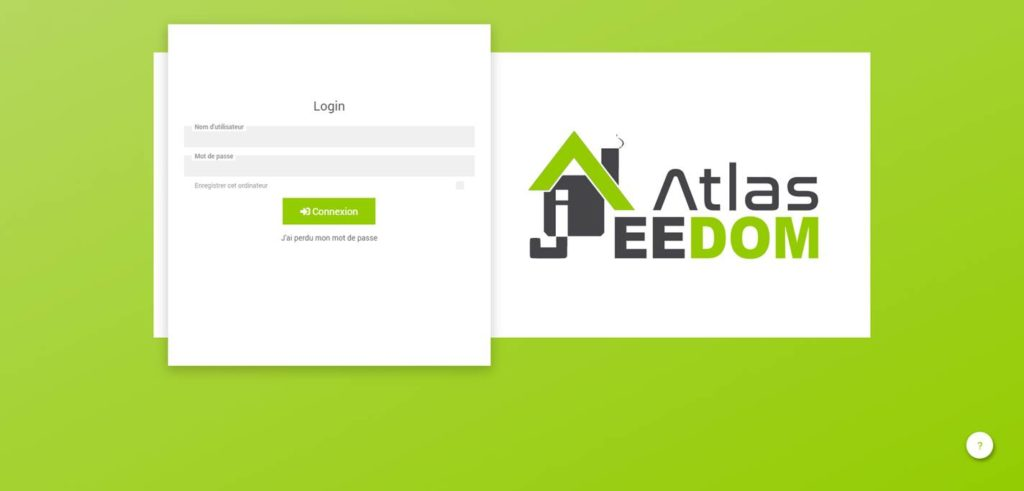 Capture d'écran de la page d'installation de Jeedom Atlas