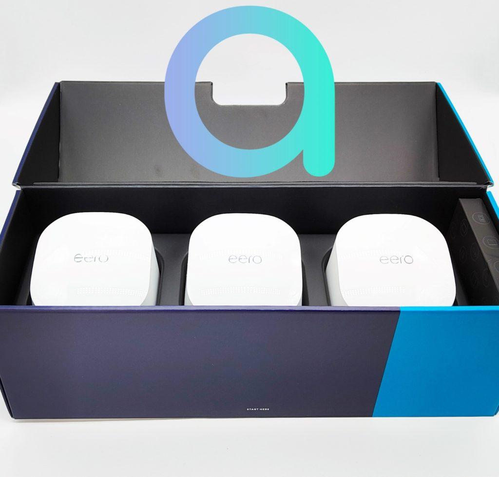 Les 3 modules eero 6 sont calés dans des alvéoles en plastique
